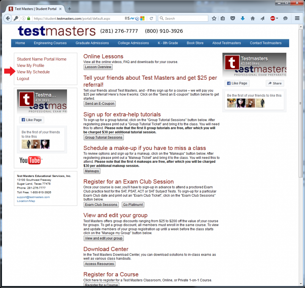 Testmasters Student Portal 2