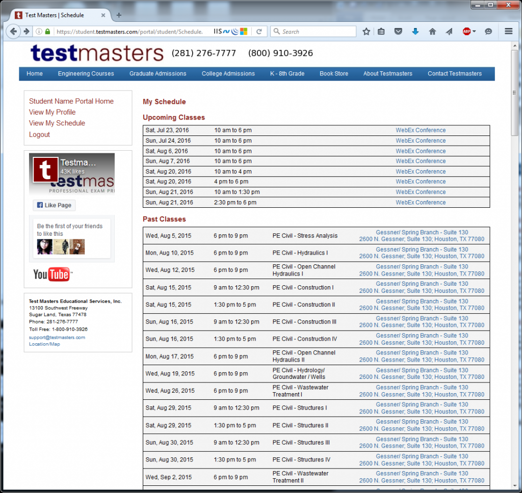 Testmasters Student Portal 3